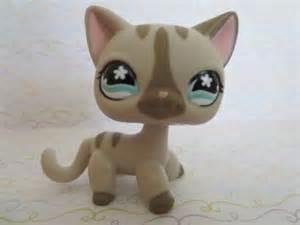 lps gray shorthair cat littlest pet shop 483 gray hair cat stripe blue