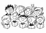 Choir Singing Coloring Clipart Clip Children Drawing Chorus Music Cartoon Singers Christmas Outline Education Edupics Alone Boy sketch template