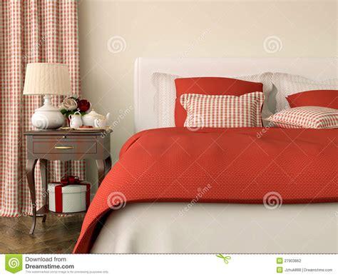 decorazioni da letto da letto con le decorazioni rosse fotografia stock