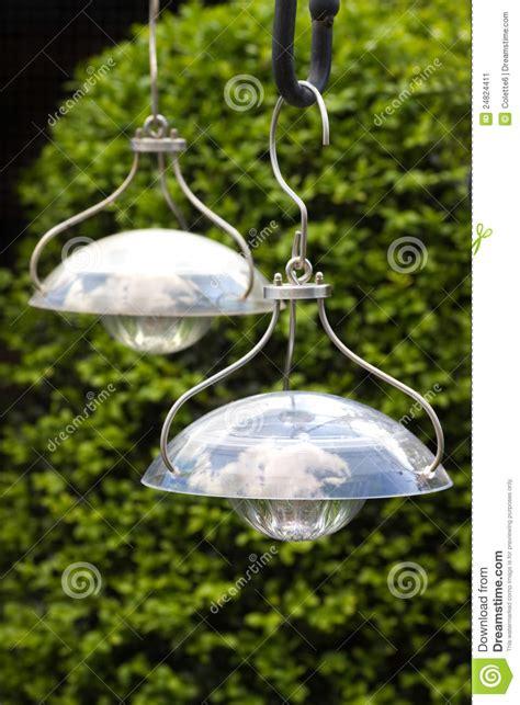 Hängende Solarlampen Zum Belichten Garten Stockbild Bild