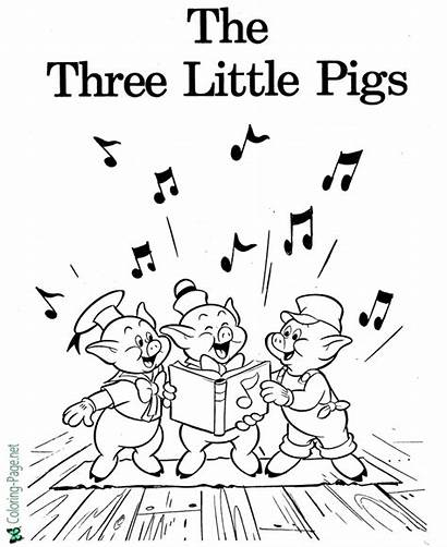 Coloring Pigs Three Fairy Tale Pages Printable