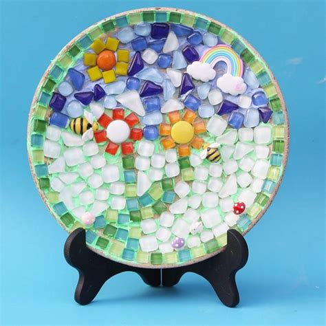 mixed color irregular mosaic tiles crafts glass