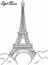 Paris Coloring Tower Eiffel Pages sketch template