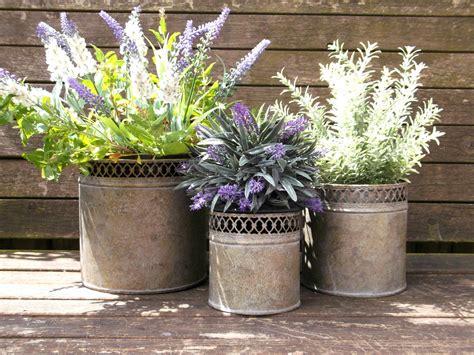 outdoor vase planters vintage style set of 3 metal garden planters