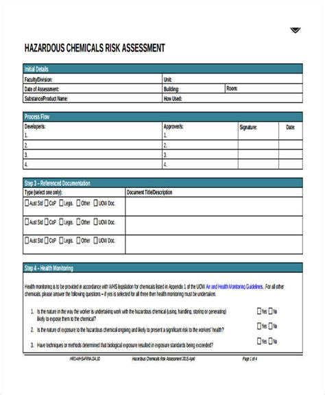 Chemical Risk Assessment Template by Risk Assessment Form Template