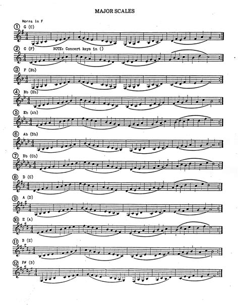 french horn scale sheet instrument resources