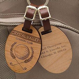 engraved wood golf bag tags classic golfer