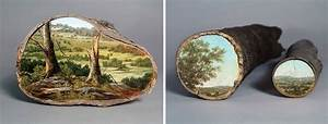 Landscapes painted on fallen tree logs tell us not to take for Log landscapes alison moritsugu