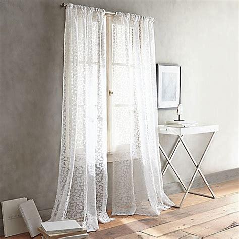 dkny curtains drapes dkny halo rod pocket sheer window curtain panel in white