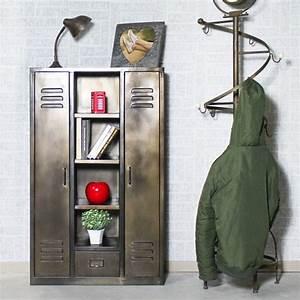 Armoire Industrielle Vintage : armoire industrielle vintage noire made in meubles ~ Teatrodelosmanantiales.com Idées de Décoration