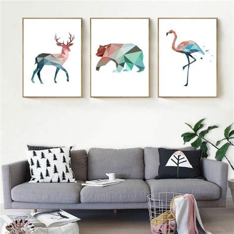 abstract geometric animals wall art pastel jade  pink flamingo bear  deer nordic canvas