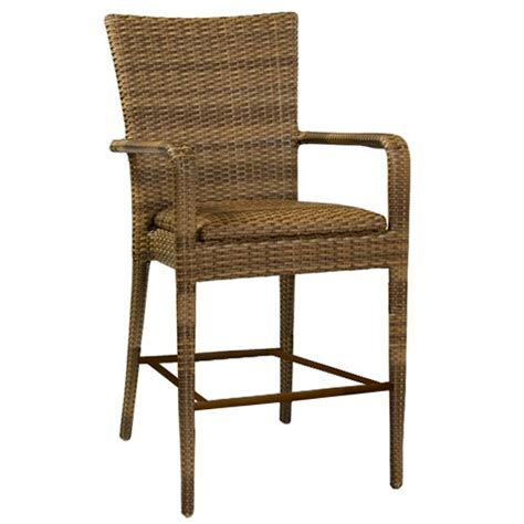 Cushioned Bar Stools With Arms by Whitecraft By Woodard Wicker Padded Bar Stool With Arms