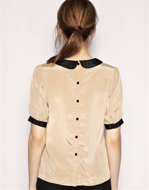 collar blouse asos asos blouse with contrast pan collar at asos