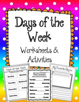 days   week activity sheets great  review