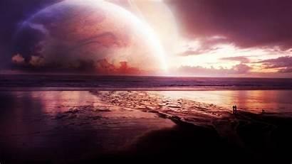 Sunset Sea Cosmos Wallpapers Universe Digital Desktop