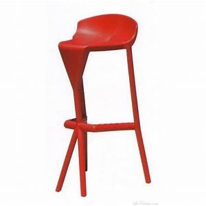 tabouret de bar design SHIVER et tabourets bar plastique rouge (chaises haute de bar design