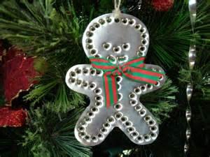 gingerbread boy tin punch fashioned ornament