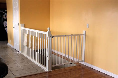Wooden Baby Gates For Stairs With Banisters by Diy White Baby Safety Gate For Stairs Design Ideas With