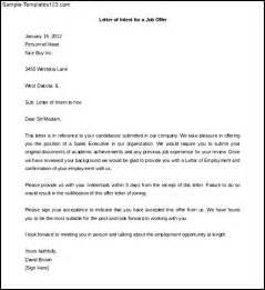 Samples Letters of Intent Job Offer