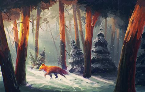 wallpaper sunlight painting forest digital art
