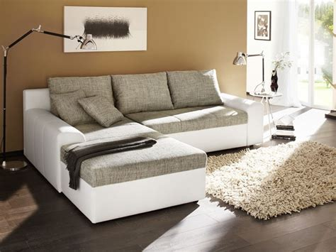 Ecksofa Sharon 250x193cm Grau Weiß Couch Sofa Schlafsofa