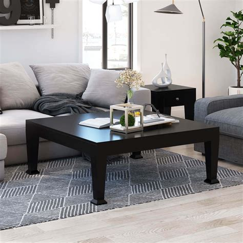 Rustic Solid Wood Black Large Square Coffee Table Living
