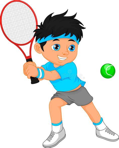 boy tennis player cartoon stock vector illustration  male