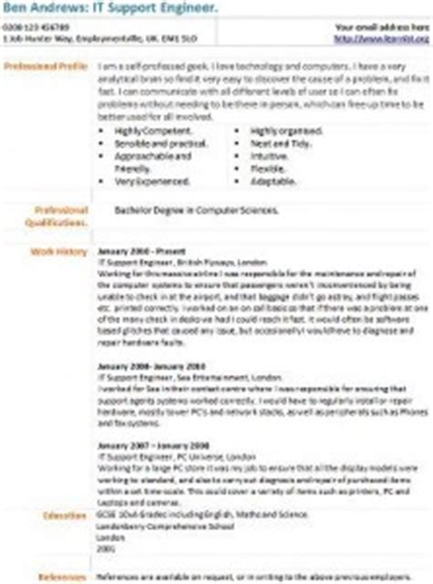 it support engineer cv exle learnist org