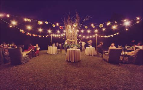 outdoor wedding with lights pinpoint