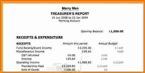 treasurer s report template non profit 8 treasurer s report template expense report