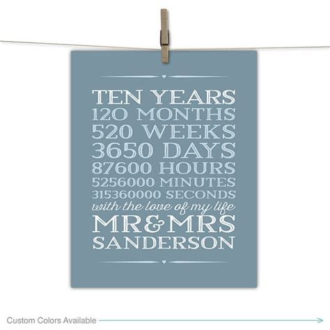 10 year anniversary gift 10 year anniversary gift for men 10th wedding anniversary 10 years 120 months 10th