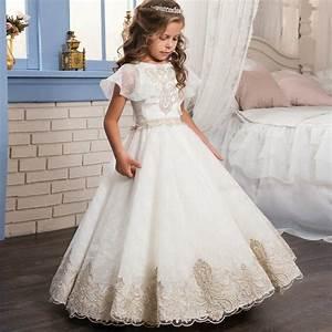 kids infant girls appliques formal dress children With wedding dresses for toddlers