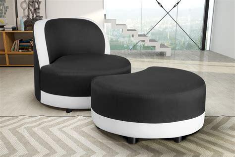 canape forme ronde fauteuil pivotant design rond en tissu noir blanc avec