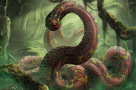 mysterious cavern  africa   giant snake guardian