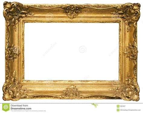 gold plated wooden picture frame  path stock image