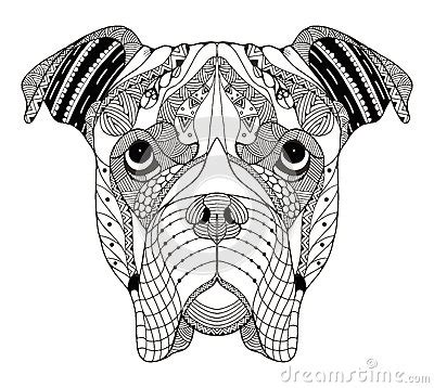 boxer dog head zentangle stylized vector illustration