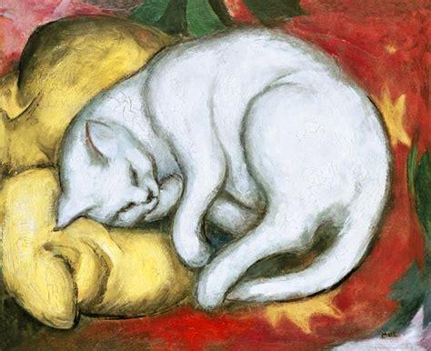sta foto su cuscini gatto su cuscino giallo franz marc riproduzione stata