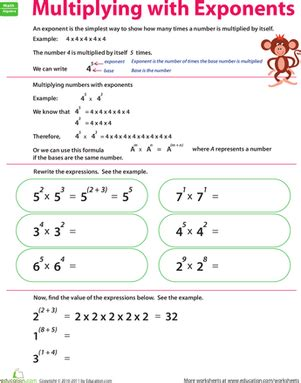 multiplying with exponents worksheet education