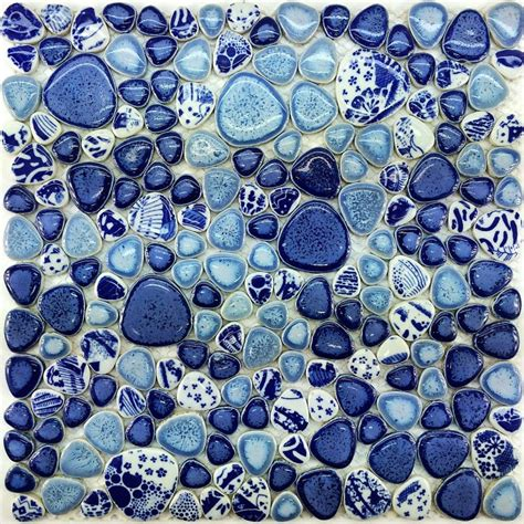 Blue Mosaic Tiles Bathroom by Glazed Porcelain Tile Glass Pebble Mosaic Ppmt043 Pebble
