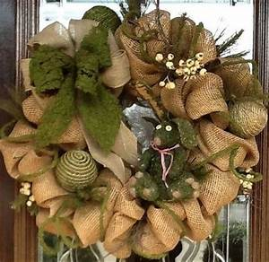 BURLAP and MOSS Deco Mesh WREATH christmas xmas ideas