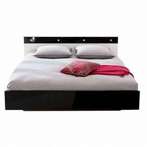 Lit Deux Places Conforama : lit adulte diamaan 140x190cm noir blanc ~ Melissatoandfro.com Idées de Décoration