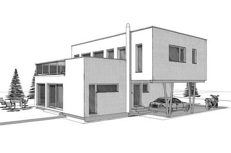 Moderne Häuser Zeichnen by Moderne Stadtvilla Im Bauhausstil Mit Flachdach Anbau