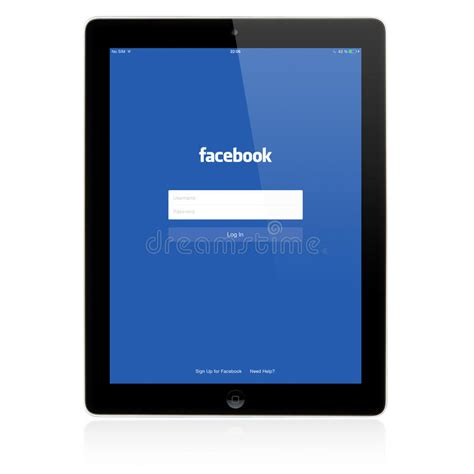 Facebook Login Page On Apple Ipad Screen Editorial Stock