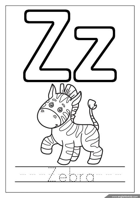 alphabet coloring page letter z coloring zebra coloring english for children alphabet