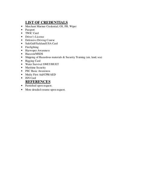 offshore resume