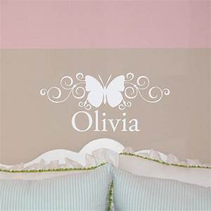 personalized name w scroll butterfly wall decal girl39s With wall cling letters