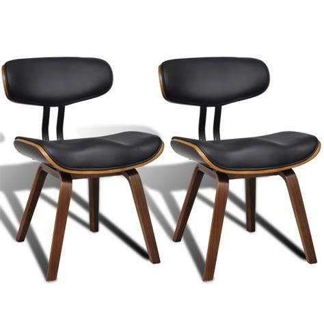 chaise salle a manger cuir 2 chaises de cuisine salon salle à manger design noir bois
