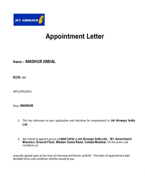 sample interview appointment letter  examples
