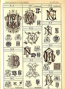 1884 antique n monograms page letter style ephemera With vintage illuminated letters