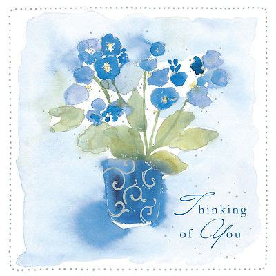 thinking   card blue flowers design square size